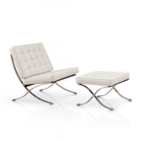 Barcelona Sessel + Ottoman Hocker (Replika-Set) - Weiß