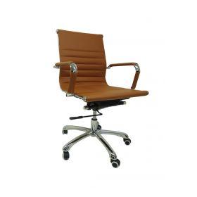 "Design-Bürostuhl ""Valencia"" - Cognac - höhenverstellbare Wippmechanik"