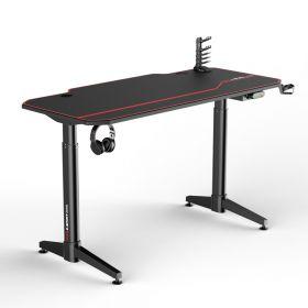 Gaming-Schreibtisch - Elektrisch höhenverstellbar - 140 x 66 cm - Schwarz/Rot - Sehr funktional & erweiterbar