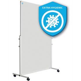 Fahrbare Emaille-Trennwand - 180 x 120 cm - Weiß - Hygienisch mit Silber-Desinfektion