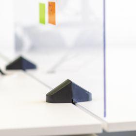 Schreibtisch-Trennwand - Acrylglas-Schutzwand - 58x160cm - Doppeltisch - Klemmbar & koppelbar