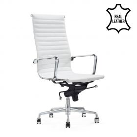 "Leder-Chefsessel ""Madrid"" - Weiß - 100% Echtleder - hohe Rückenlehne"