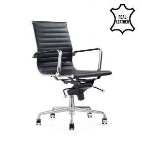 "Leder-Bürostuhl ""Valencia"" - Schwarz - 100% Echtleder"