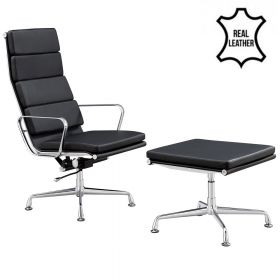 Lounge Chair Lerida + Hocker - Echt Leder - Schwarz