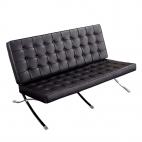 Design-Couch Barcelona (Replika) - Schwarz - Exklusiver Luxus-Zweisitzer