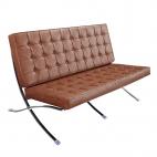 Design-Couch Barcelona (Replika) - Vintage-Braun - Exklusiver Luxus-Zweisitzer
